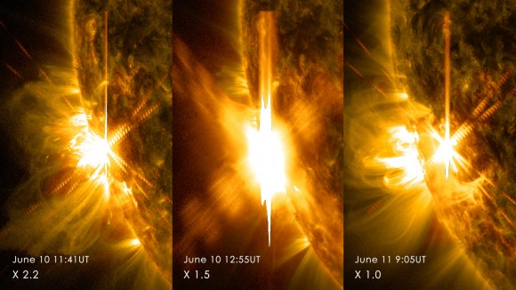 "A ""triple X"" on June 10-11, 2014 with three flares from AR2087 (NASA/SDO/GSFC)"