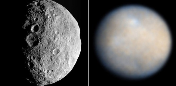 Vesta (left) and Ceres. Vesta was photographed up close by the Dawn spacecraft from July 2011-Sept. 2012, while the best views we have to date of Ceres come from the Hubble Space Telescope. The bright white spot is still a mystery. Credit: NASA