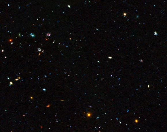 GOODS field containing distant dwarf galaxies forming stars at an incredible rate. Image Credit: ESO