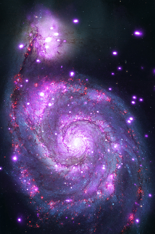 The Whirlpool galaxy seen in both optical and X-ray light. Image Credit: X-ray: NASA/CXC/Wesleyan Univ./R.Kilgard, et al; Optical: NASA/STScI