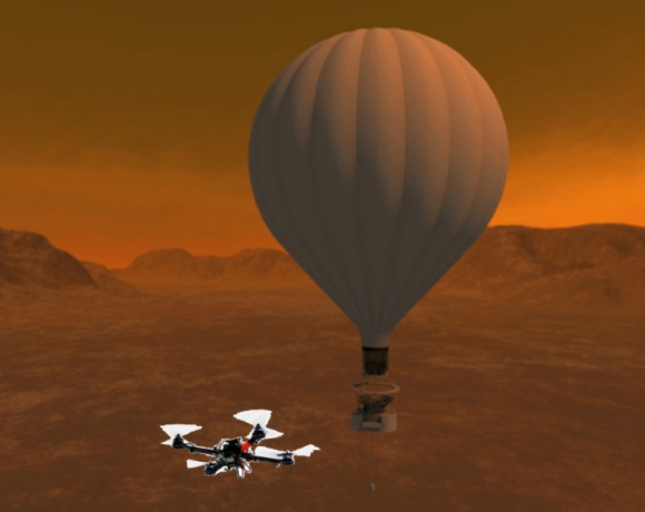 Artist's conception of the Titan Aerial Daughtercraft on Titan, a moon of Saturn. Credit: NASA