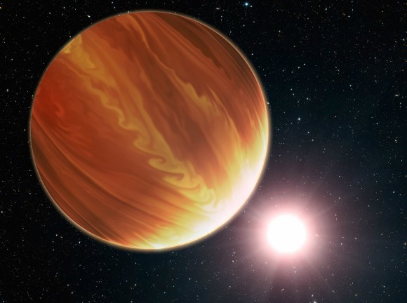 Artist's conception of gas giant planet HD 209458b in the constellation Pegasu