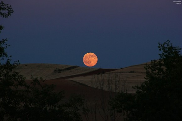 The big proxigean full Moon rises over Daganzo de Arriba, near Madrid, Spain on July 12, 2014. Credit and