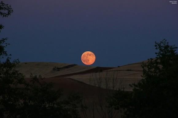 The big proxigean full Moon rises over Daganzo de Arriba, near Madrid, Spain on July 12, 2014. Credit and copyright: Alva