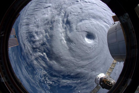 """Went right above Supertyphoon Neoguri. It is ENORMOUS. Watch out, Japan!""  Taken from the ISS on 7 July 2014. Credit: ESA/NASA/Alexander Gerst"