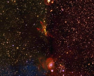 Caption: The area shown here was part of the very first image taken for the UWISH2 survey. It shows on the top a region of massive star formation (called G35.2N) with two spectacular jets. On the bottom an intermediate mas