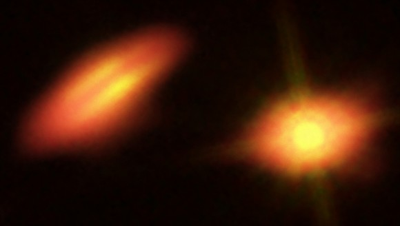 ALMA data of HK Tau shown in a composite image with Hubble infrared and optical data. Credit: B. Saxton (NRAO/AUI/NSF); K. Stapelfeldt et al. (NASA/ESA Hubble)