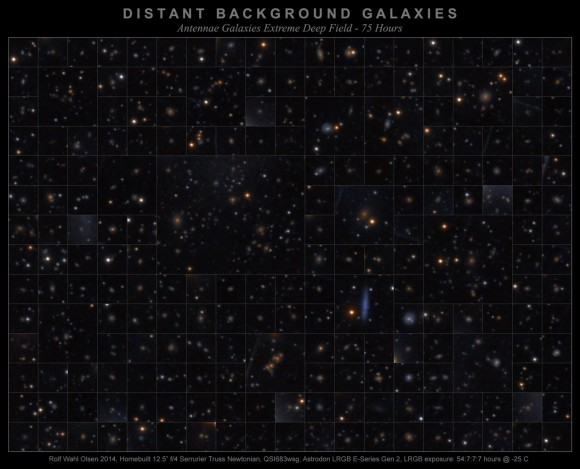 A gallery of distant background galaxies in the same field of view as the Antenna Galaxies. Credit and copyright: Rolf Wahl Olsen.
