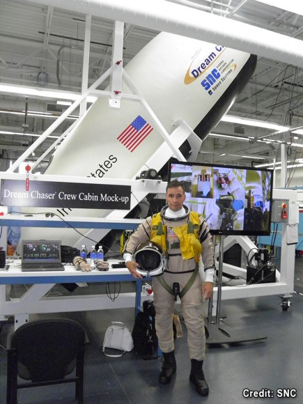 SNC former astronaut Lee Archambault prepares for Dream Chaser® Crew Systems Test.  Credit: SNC