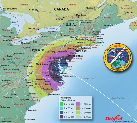 Orbital 2 Launch from NASA Wallops Island, VA on July 12, 2014- Time of First Sighting Map   This map shows the rough time at which you can first expect to see Antares after it is launched on July 12, 2014. It represents the time at which the rocket will reach 5 degrees above the horizon and varies depending on your location . We have selected 5 degrees as it is unlikely that you'll be able to view the rocket when it is below 5 degrees due to buildings, vegetation, and other terrain features. As an example, using this map when observing from Washington, DC shows that Antares will reach 5 degrees above the horizon more than a minute.   Credit: Orbital Sciences