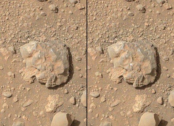 NASA's Curiosity Mars rover used the Mars Hand Lens Imager (MAHLI) camera on its arm to catch the first images of sparks produced by the rover's laser being shot at a rock on Mars. Credit: NASA/JPL-Caltech/MSSS