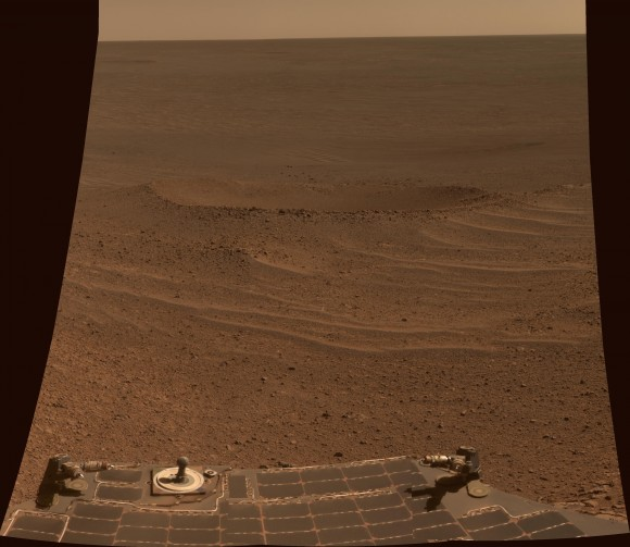 "This scene from NASA's Mars Exploration Rover Opportunity shows ""Lunokhod 2 Crater"