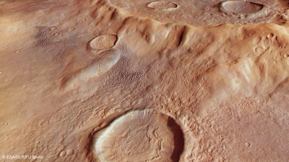 Perspective view of Hellas Basin taken with the High Resolution Stereo Camera on ESA's Mars Express in January 2014, and released in July 2014. Credit: ESA/DLR/FU Berlin