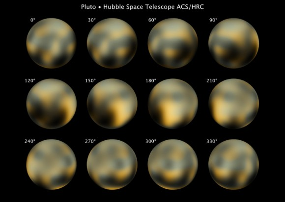 Pluto's surface as viewed from the