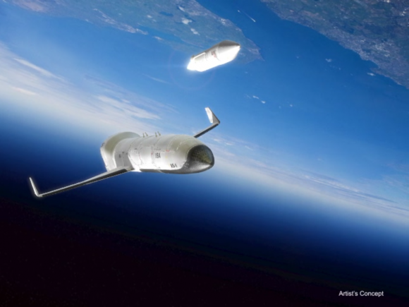 Concept images for DARPA's Experimental Spaceplane (XS-1) program. Credit: DARPA.