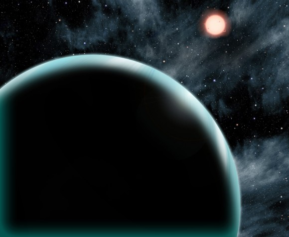 "This artist's conception shows the Uranus-sized exoplanet Kepler-421b, which orbits an orange, type K star about 1,000 light-years from Earth. Kepler-421b is the transiting exoplanet with the longest known year, circling its star once every 704 days. It is located beyond the ""snow line"" – the dividing line between rocky and gaseous planets – and might have formed in place rather than migrating from a different orbit. David A. Aguilar (CfA)"