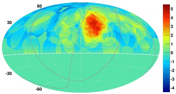 """A map of cosmic ray concentrations in the northern sky, showing a """"hotspot"""" (red) in the location of the Big Dipper. Credit:  K. Kawata, University of Tokyo Institute for Cosmic Ray Research"""