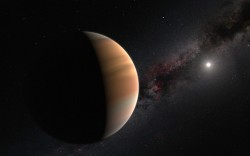 This artist's view shows an extrasolar planet orbiting a star (the white spot in the right).