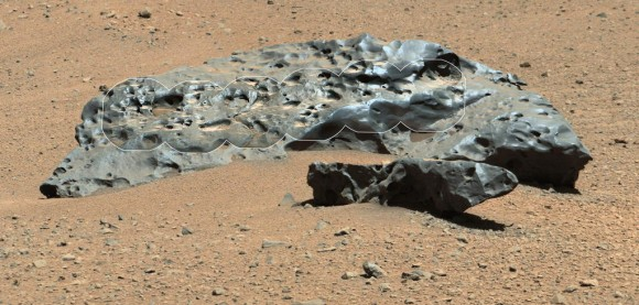 "2-meter wide iron meteorite dubbed ""Lebanon,"" as imaged by Curiosity's ChemCam and Mastcam on May 25, 2014"