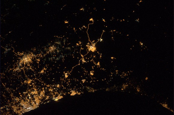 Expedition 40 astronaut Alexander Gerst took this photo of the Israel and Gaza regions in July 2014 while explosions took place below (which are not visible in the photo). Credit: Alexander Gerst/Twitter