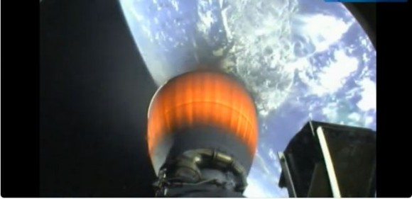 Screenshot from the SpaceX webcast of the Falcon 9 launch on July 14, 2013.