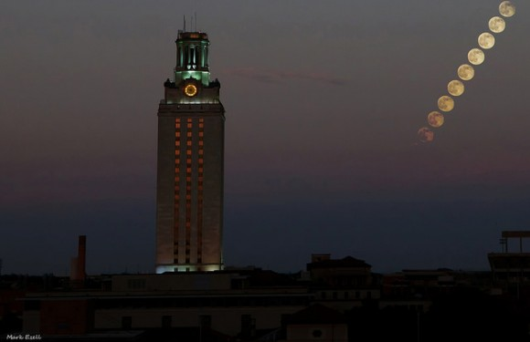 The July 2014 Supermoon rising over the University of Texas at Austin Tower. Credit: Mark Ezell, used with permission.