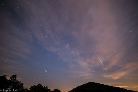 "Two ""late"" Perseid meteors captured in one shot o"