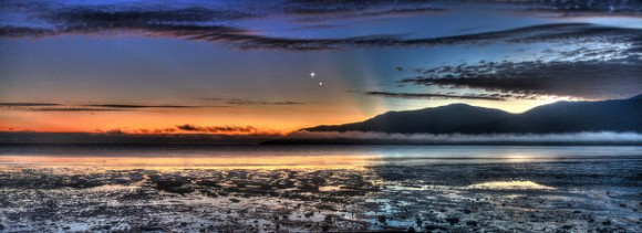 A panoramic view of the Venus Jupiter Conjunction on August 17, 2014, taken from the Cairns Esplanade in Queensland Australia. Credit and copyright: Joseph Brimacombe.