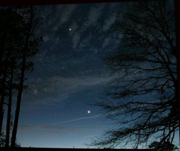 The last dawn pairing of Venus, Jupiter and the crescent Moon in the dawn sky in 2012... this month's will be much tighter! Credit: Tavi Greiner.
