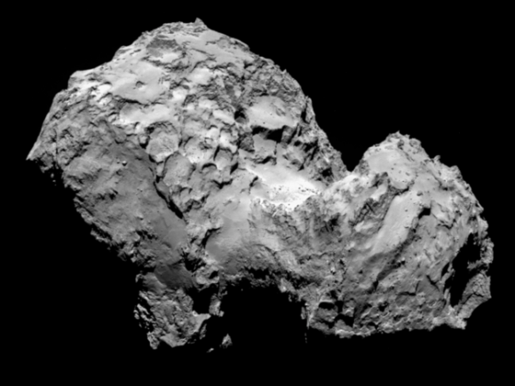 The image of Comet 67P/Churyumov-Gerasimenko was taken by Rosetta's OSIRIS narrow-angle camera on 3 August 2014 from a distance of 285 km.   Credits: ESA/Rosetta/MPS for OSIRIS Team MPS/UPD/LAM/IAA/SSO/INTA/UPM/DASP/IDA