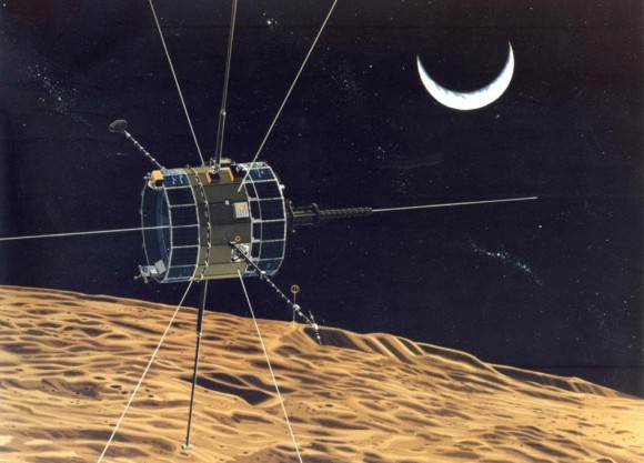 NASA illustration of the ISEE-3 swing by the Moon, 1982. On August