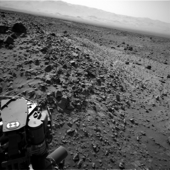 NASA's Curiosity rover looks across a rock field in this raw picture from Mars taken Aug.