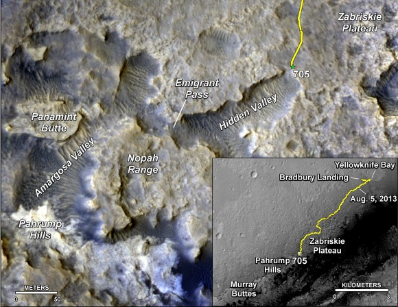 """The main map here shows the assortment of landforms near the location of NASA's Curiosity Mars rover as the rover's second anniversary of landing on Mars nears. The gold traverse line entering from upper right ends at Curiosity's position as of Sol 705 on Mars (July 31, 2014). The inset map shows the mission's entire traverse from the landing on Aug. 5, 2012, PDT (Aug. 6, EDT) to Sol 705, and the remaining distance to long-term science destinations near Murray Buttes, at the base of Mount Sharp. The label """"Aug. 5, 2013"""" indicates where Curiosity was one year after landing. Credit: NASA/JPL-Caltech/Univ. of Arizona"""