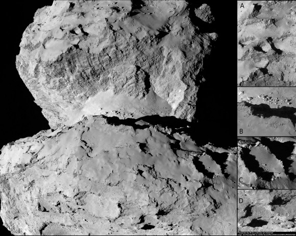 This image of comet 67P/Churyumov-Gerasimenko shows the diversity of surface structures on the comet's nucleus. It was taken by the Rosetta spacecraft's OSIRIS narrow-angle camera on August 7, 2014. At the time, the spacecraft was 65 miles (104 kilometers) away from the 2.5 mile (4 kilometer) wide nucleus.  Credit:  ESA/Rosetta/MPS for OSIRIS Team MPS/UPD/LAM/IAA/SSO/INTA/UPM/DASP/IDA/Enhanced processing Marco Di Lore