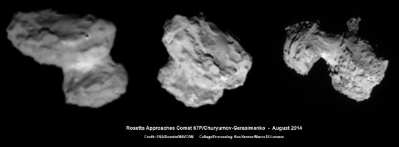 ESA's Rosetta Spacecraft on final approach to Comet 67P/Churyumov-Gerasimenko in early August 2014. This collage