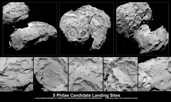 Five candidate sites were identified on Comet 67P/Churyumov-Gerasimenko for Rosetta's Philae lander.   The approximate locations the five regions are marked on these OSIRIS narrow-angle camera images taken on 16 August 2014 from a distance of about 100 km. Enlarged insets b