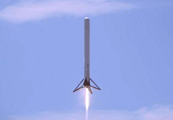 SpaceX's F9R rocket prototype during a successful test in May 2014. Credit: SpaceX/YouTube (screenshot)