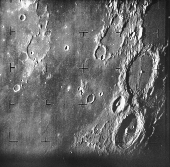 Ranger 7 took this image, the first picture of the Moon by a U.S. spacecraft, on 31 July 1964 at 13:09 UT (9:09 AM EDT) about 17 minutes before impacting the lunar surface. Credit:  NASA/JPL-Caltech