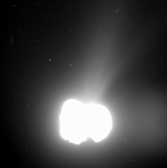 By planned overexposure of the nucleus of comet 67P/Churyumov-Gerasimenko structures in the coma become visible. This images was taken on Au
