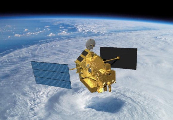 Artist's conception of the Tropical Rainfall Measuring Mission (TRMM) satellite in space over a cyclone. Credit: NASA