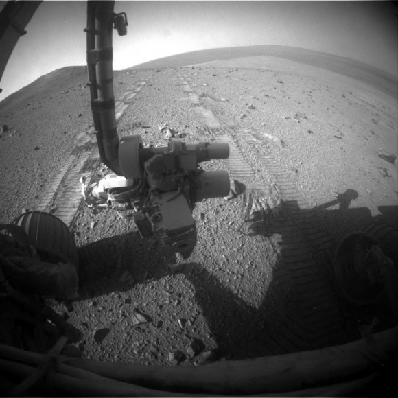 A raw shot from the front hazcam of NASA's Opportunity rover taken on Sol 3757, on Aug. 19, 2014. Credit: NASA/JPL-Caltech