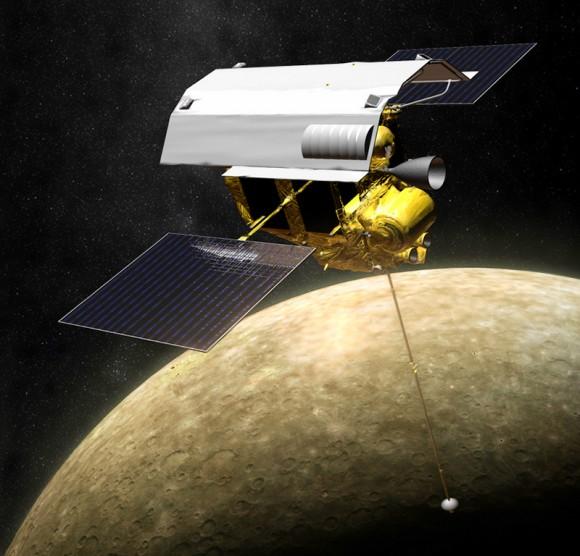 Illustration of MESSENGER in orbit around Mercury (NASA/JPL/APL)