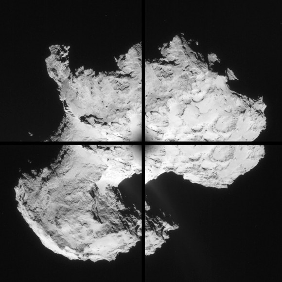 Four image montage of comet 67P/C-G, using images taken on 2 September. Credits: ESA/Rosetta/NAVCAM