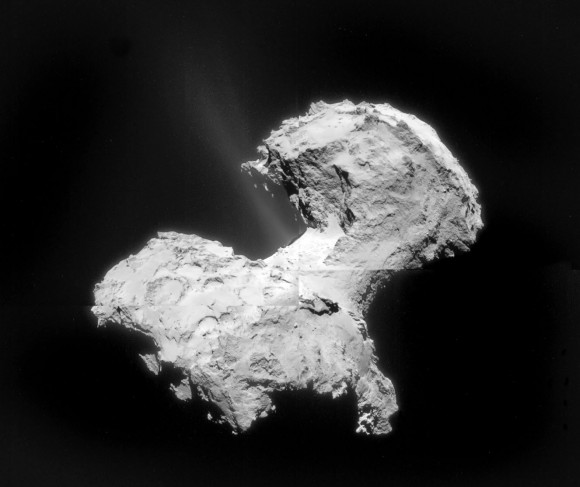 Two jets of gas and dust blast from Comet 67P/C-G in this reassembled and enhanced mosaic made from four photos taken by Rosetta's navigation camera on September 2, Credit: ESA/Rosetta/ Navcam/Bob King