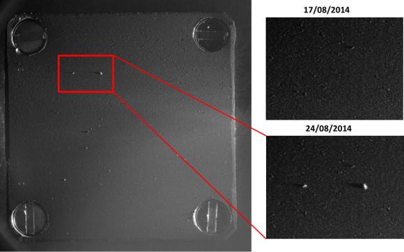 Colector de polvo de Rosetta, Cometary masas de iones secundarios Analizador (COSIMA), recogió sus primeros granos del cometa 67P / Churyumov-Gerasimenko en agosto de 2014 Esta imagen muestra antes y después de las imágenes de la colección.  Crédito: ESA / Rosetta / MPS para COSIMA equipo MPS / CSNSM / UNIBW / Tuorla / IWF / NIC / ESA / BUW / MPE / LPC2E / LCM / FMI / UTU / LISA / UofC / vH & S