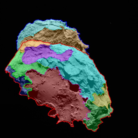 Several morphologically different regions are indicated in this preliminary map, which is oriented with the comet's 'body' in the foreground and the 'head' in the background.  Credits: ESA/Rosetta/MPS for OSIRIS Team MPS/UPD/LAM/IAA/SSO/INTA/UPM/DASP/IDA