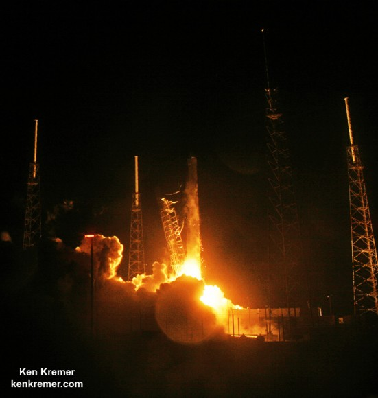 A SpaceX Falcon 9 rocket carrying a Dragon cargo capsule packed with science experiments and station supplies blasts off from Space Launch Complex 40 at Cape Canaveral Air Force Station, Florida, on Sept. 21, 2014 bound for the ISS. Credit: Ken Kremer/kenkremer.com