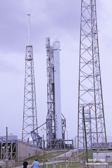 SpaceX Falcon 9 erect at Cape Canaveral launch pad 40  awaiting launch on Sept 20, 2014 on the CRS-4 mission. Credit: Ken Kremer - kenkremer.com