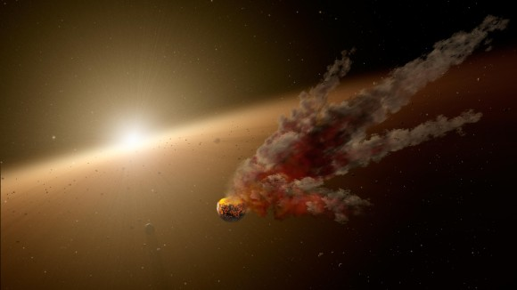 An artist's conception of what scientists think was an asteroid collision near star NGC 2547-1D8, which is 1,200 light-years from Earth. An influx of dust was noticed from Earth between August 2012 and 2013. Credit: NASA/JPL-Caltech