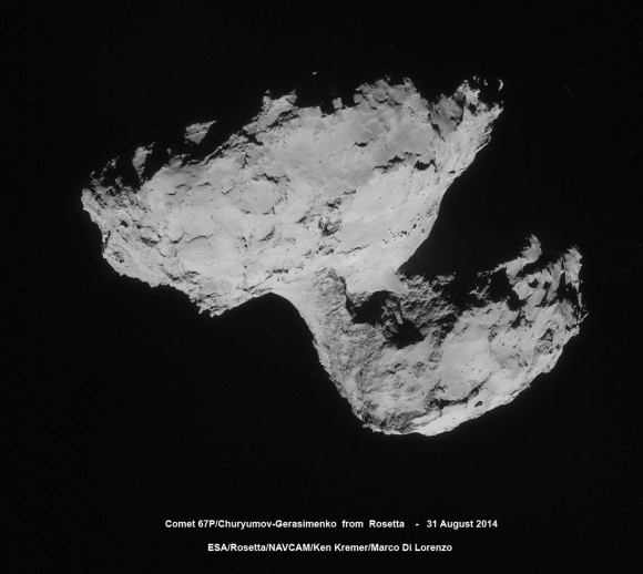 Four-image photo mosaic comprising images taken by Rosetta's navigation camera on 31 August 2014 from a distance of 61 km from comet 67P/Churyumov-Gerasimenko. The comet nucleus is about 4 km across. Credits: ESA/Rosetta/NAVCAM/Ken Kremer/Marco Di Lorenzo